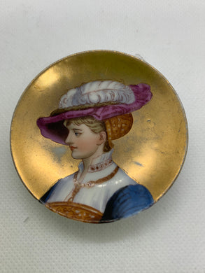 Collector Plate- Unmarked , Victorian Lady- Miniature