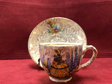 Load image into Gallery viewer, Empire. England. Demitasse Cup and Saucer. Crinoline Lady, Gold Chintz
