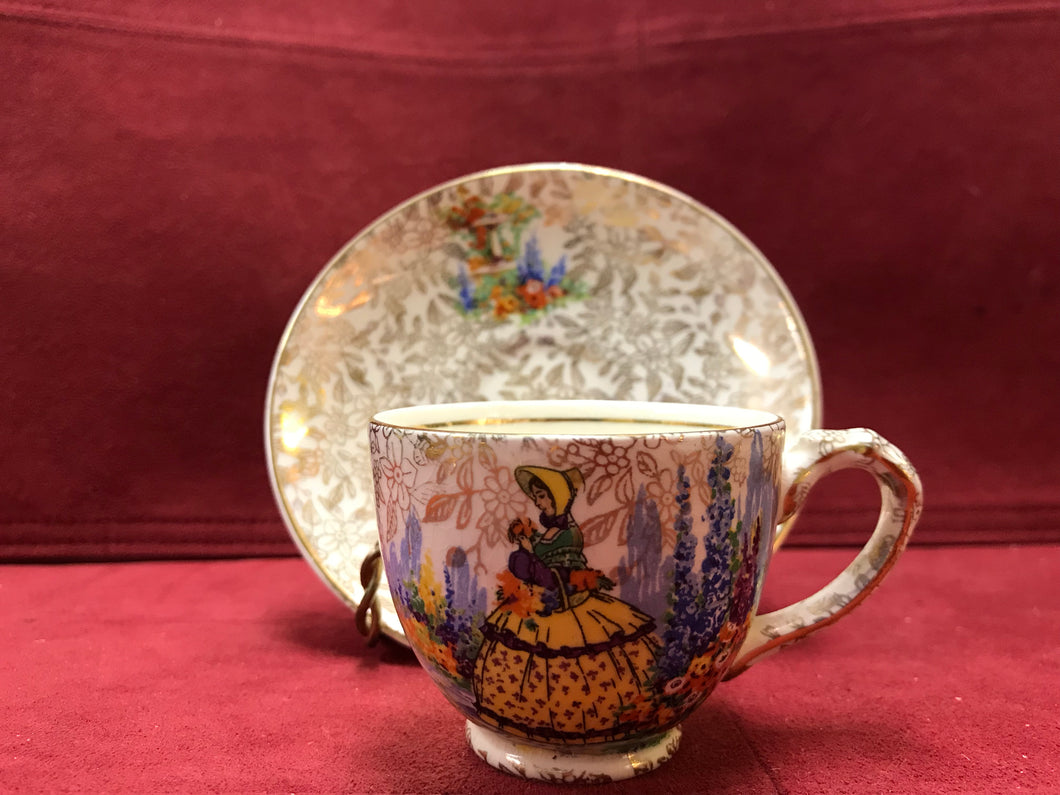 Empire, Crinoline Lady, Gold Chintz. Demitasse Cup and Saucer