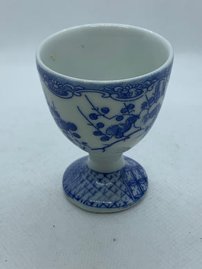 Egg Cup. Unmarked.  Oriental theme.  Blue and white