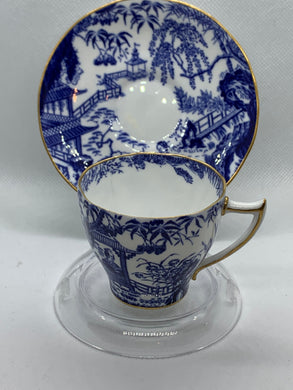 Royal Crown Derby. England. Mikado.  Blue and White.  Demitasse Cup and Saucer