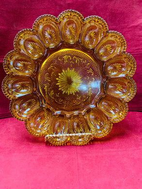 Devilled Egg Tray. USA. Carnival Glass, Amber .Holds 15