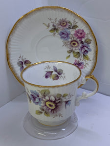 Queens.  Rosina China. England. Cup and Saucer. Centenary Cup for 1875 to 1975