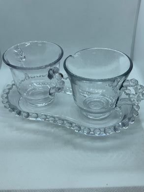 Imperial Glass, Candle wick. Cream and Sugar on a tray.  Vintage