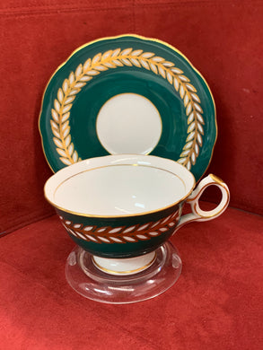 Shafford-Japan.  Cup and Saucer Forest Green with Gold and White leaves