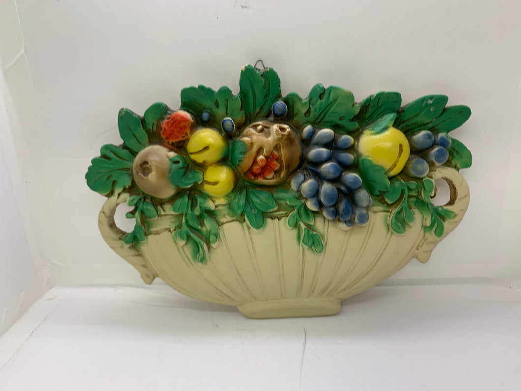 Danesi- Chalk Plaque, Fruit Bowl with fruit and foliage.