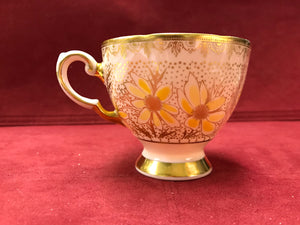 Tuscan, England. Cup and Saucer. Pink, Gold, Yellow Flower