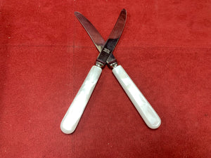 Dessert Knives, Birks, Mother of Pearl Handle, Sheffield blade.  Set of 4