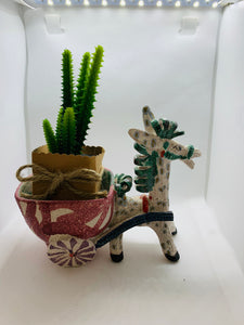 Planter. Italy.  Donkey with Cart