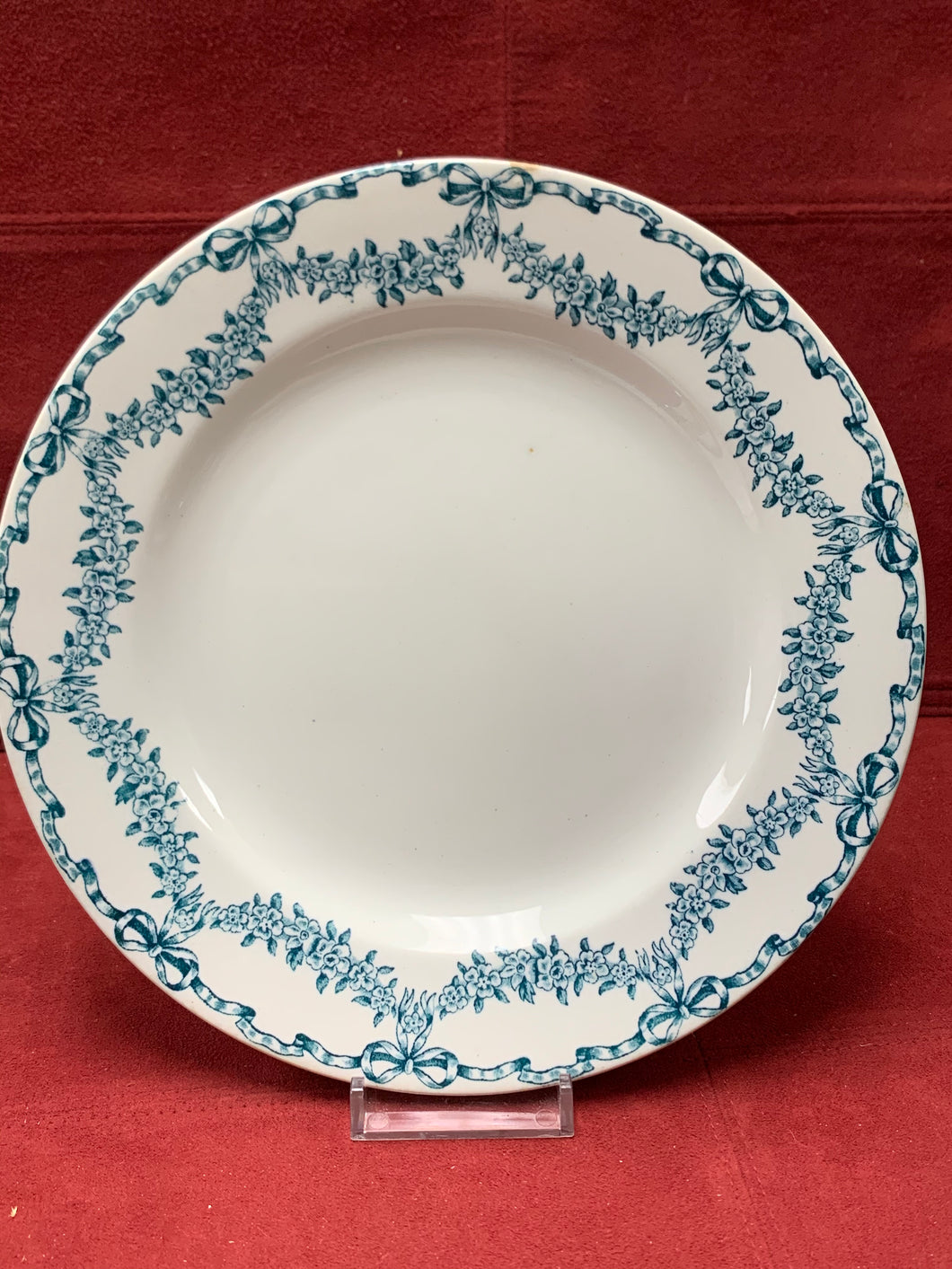 Losol Ware, England. Luncheon Plates. Set of 6. Teal Blue on White. Selkirk. 8-1/2