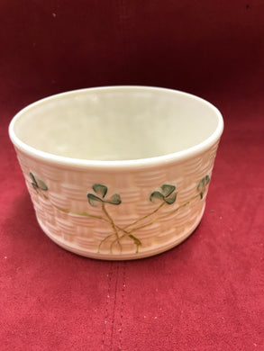 Belleek, Ireland. Marmalade Bowl.  Cream ware with Shamrocks