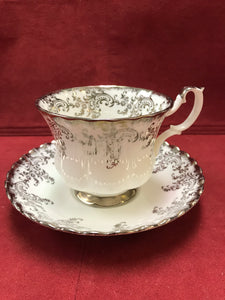 Royal Albert, England. Cup and Saucer. Silver/White Chintz