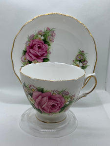 Royal Vale. England.  Cup and Saucer.  Large Pink Rose/with flowers