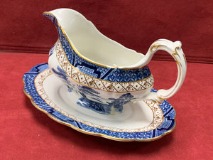 Booth's Real Old Willow, Gravy Boat with Attached Under Plate