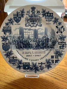 Collector Plate. Wood & Son's England. Blue and White. Canadian Centennial  1867-1967.  10-1/4