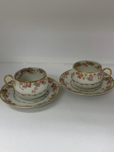 "Limoges, GDA- France- Haviland.  ""Bridal Rose"".   Cup and Saucers  ( Set of 2 )"
