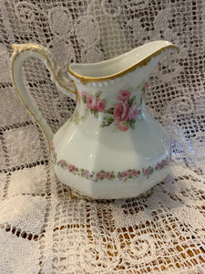 Limoges, Elite Works Bridal Rose, Large Creamer. Footed