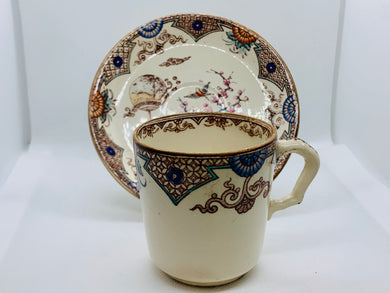 T. Furnivals  of Stratford. England. demitasse cup and Saucer. Pattern- Formosa.