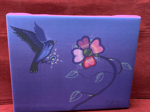 Print on Canvas. Ojibwe- Woodland Style.  Blue Bird with Pink Flower.   By Jenner Tauch Kwe