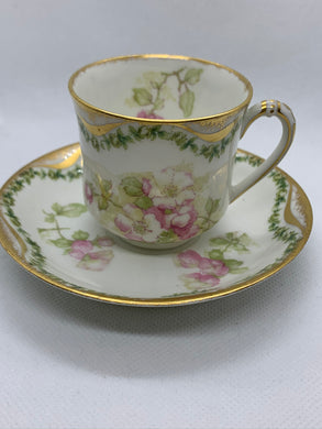 Haviland- Limoges-France.  Cream/Pink Roses. Demitasse Cup and Saucer