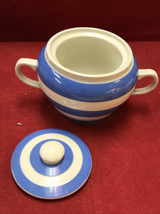 Sugar Bowl, T. G.Green & Co. Cornish Kitchen Ware, Blue and White.    RESERVED for D