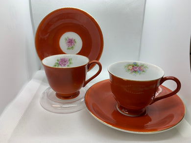 Occupied Japan. Persimmon and Roses. (Set of 2.) Demitasse Cup and Saucer