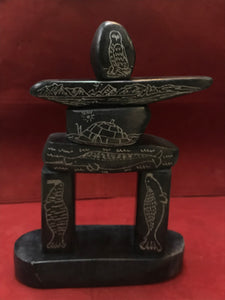 Inuit Carving, Scrimshaw, Inukshuk, by Billy Merkosak