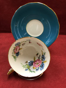 Aynsley . England. Cup an Saucer. Teal Blue with floral