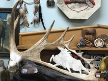 Load image into Gallery viewer, Moose Antler Carving By Angus Burns, Bull Moose in Rut  IN STORE PICK UP ONLY