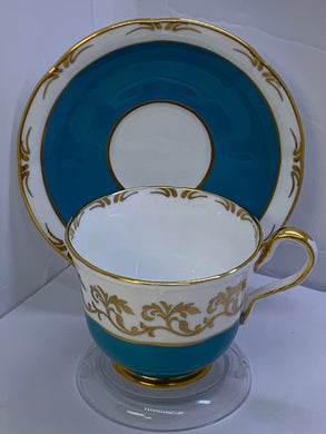 Aynsley . England. Cup an Saucer. Teal Blue with Gold