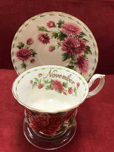 Royal Albert, England. Cup and Saucer. November, Chrysanthemums