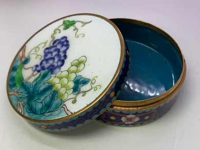 Trinket Box. Made in the USSR.  Enameled/cloisonné on brass. Blue and White
