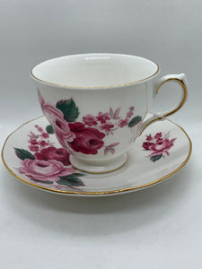 Queen Anne. England.  Cup and Saucer. Dark and Light  Pink Roses