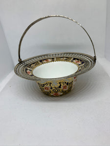 Royal Crown Derby.  England.    Imari. Basket with Sterling Rim and Folding Handle