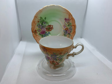 Made in Japan,  Mixed Floral. Demitasse Cup and Saucer