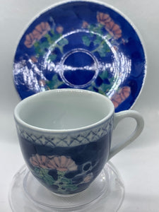 Unmarked.   Blue,Pink and White. Demitasse Cup and Saucer