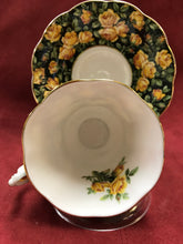 Load image into Gallery viewer, Royal Albert, England. Cup and Saucer.  Merrie England, Yellow Roses on Black