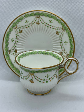 H. Morgan & Co. Montreal- Made in England. Ivory/Green with Gold. Demitasse Cup and Saucer