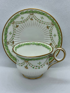 H. Morgan & Co. Montreal- Made in England. Demitasse Cup and Saucer. Ivory/Green with Gold