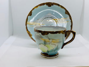 Unmarked.  Mt. Fugi with Lake and Birds. Demitasse Cup and Saucer