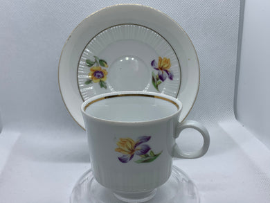 Colditz Potteries, GDR.  White with Purple/Yellow and Peach Flowers. Demitasse Cup and Saucer