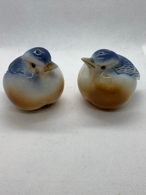 Salt and Pepper, Unmarked.  Pair of plump Bluebirds