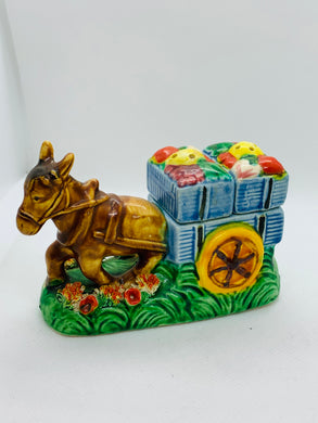 Salt and Pepper. Japan. Donkey with Cart of Fruit