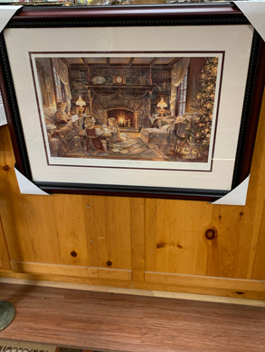 "Trisha Romance- Print- Framed.  ""Christmas at the Cottage""  #14317.  31"" x 24"""
