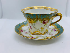 Dresden, Germany.   Teal with mauve and yellow flowers. Demitasse Cup and Saucer