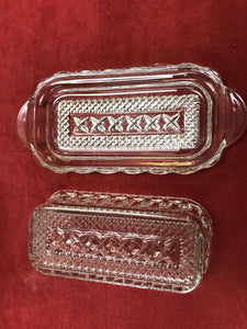 Butterdish, Glass Butter Dish, Rectangle, 1/4 lb capacity, Vintage