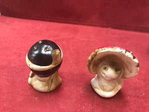 Salt and Pepper Shakers.  Child Dress Up,  Native American Theme,  Japan.
