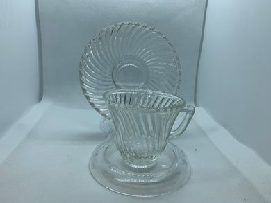 Federal Glass, Diana Swirl. Demitasse Cup and Saucer
