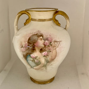 Vase. England. Royal Doulton.  Portrait of Lady with pink roses/ Pink Flowers