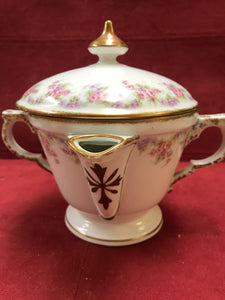 Limoges, LRL, Bridal Rose, 2 Spouted Gravy Seperator, with lid